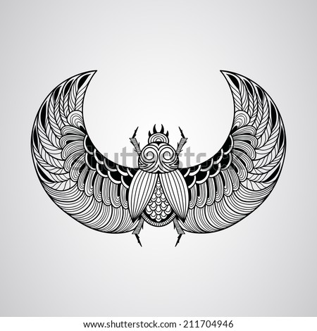 scarab beetle, tattoo style - stock photo