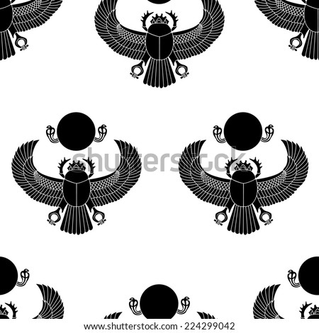 Scarab silhouette  seamless pattern illustration clip art - stock photo