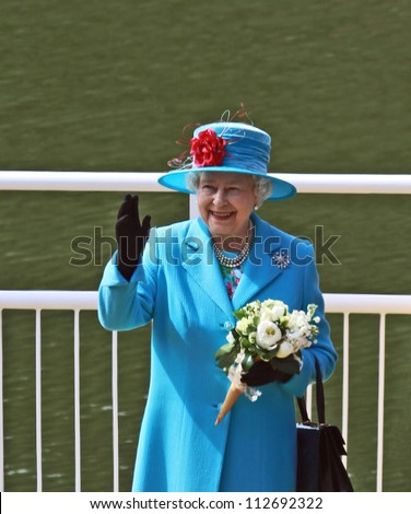 SCARBOROUGH, ENGLAND - MAY 20: Her Royal Highness Queen Elizabeth II at opening of Royal Open Air Theater, Scarborough, North Yorkshire, England. May 20 2010 - stock photo