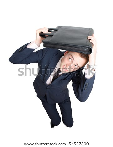 Scared business man - stock photo