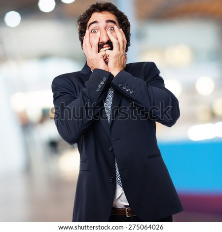 scared businessman - stock photo