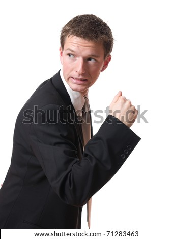 scared businessman pursued looking back isolated on white background - stock photo