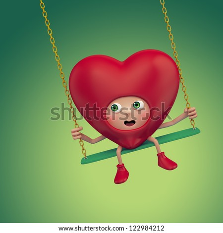 scared cartoon heart sitting on swing. Valentine day greeting. Three dimensional character render - stock photo