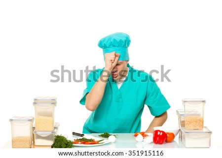 scared cook man worried pose. isolated white background - stock photo
