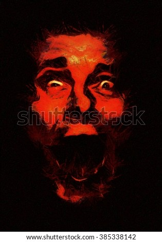 Scared face illustration / Impressionist painting of facial expression / Horror face - stock photo