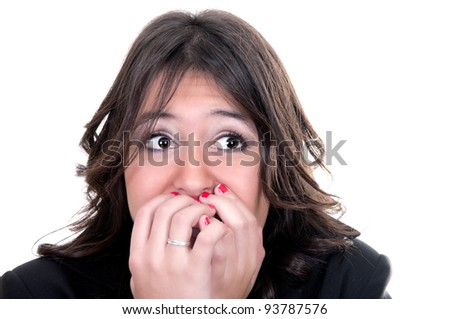 scared face of girl on white background - stock photo