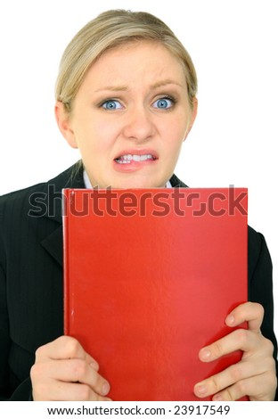 scared female caucasian holding blank book. isolated on white - stock photo