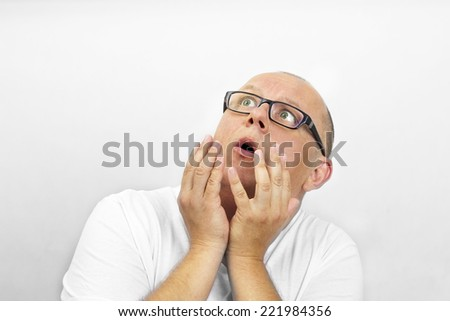 Scared man - stock photo