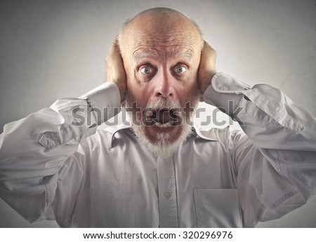 Scared man screaming - stock photo