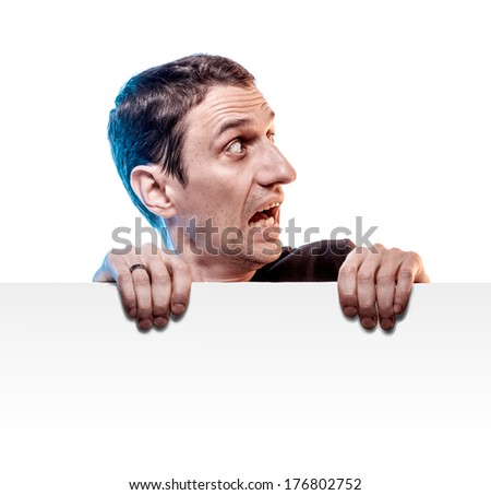 scared man with blank board isolated on white - stock photo