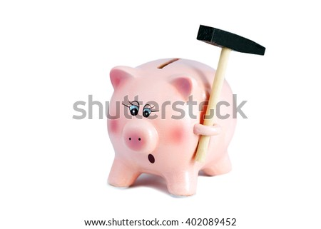 Scared Pretty Piggy Bank with hammer, Inflation on a White Background, Soft Focus