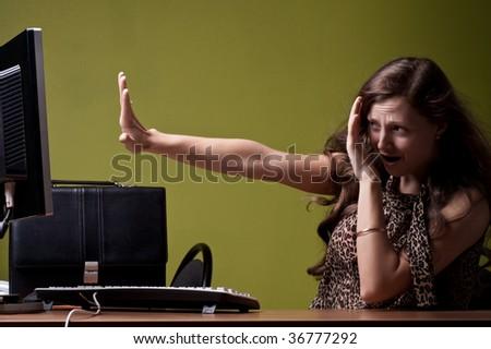Scared secretary - stock photo