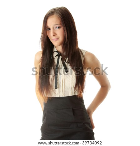 Scared teen woman isolated on white background - stock photo