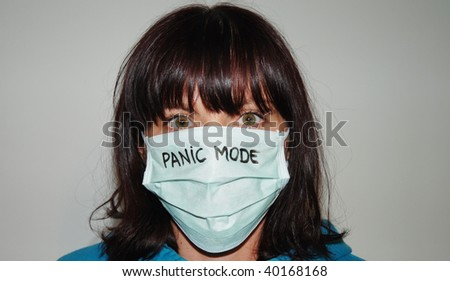 scared woman wearing mask