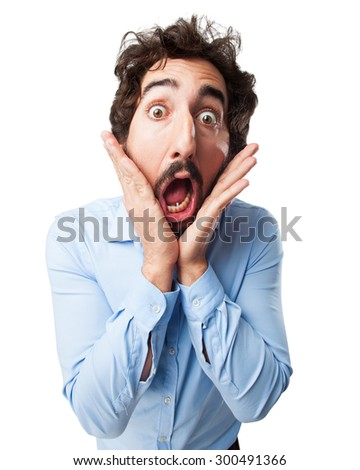 scared young man surprised - stock photo