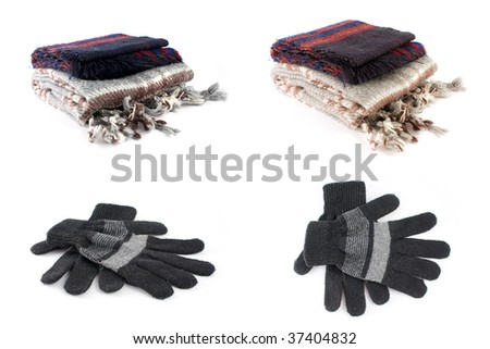 scarf and glove isolated - stock photo