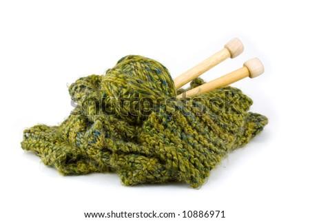 Scarf Knitting Project Green Ball Yarn Stock Photo Royalty Free