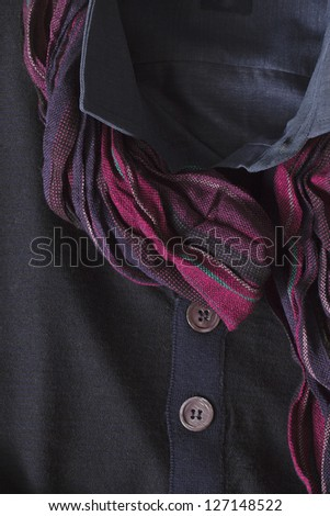 Scarf on clothes in a macro image - stock photo