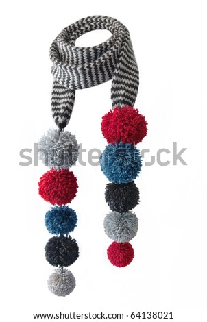 Scarf with pompons on a white background - stock photo