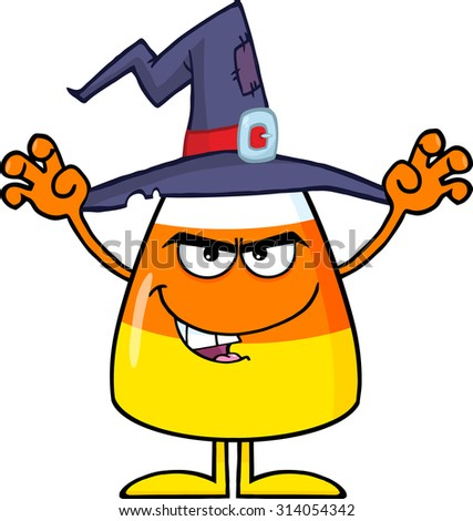 Scaring Halloween Candy Corn With A Witch Hat. Raster Illustration Isolated On White - stock photo