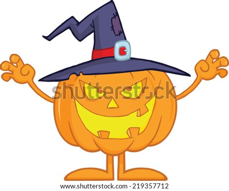 Scaring Halloween Pumpkin With A Witch Hat. Raster Illustration - stock photo