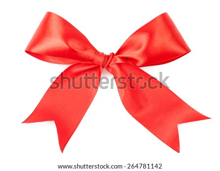 Scarlet bow isolated on white background.