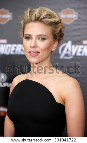 "Scarlett Johansson at the Los Angeles premiere of ""The Avengers"" held at the El Capitan Theater in Hollywood, USA on April 11, 2012. - stock photo"