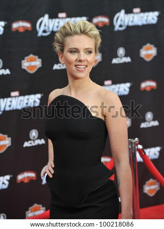 "Scarlett Johansson at the world premiere of her new movie ""Marvel's The Avengers"" at the El Capitan Theatre, Hollywood. April 11, 2012  Los Angeles, CA Picture: Paul Smith / Featureflash - stock photo"