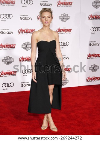 Scarlett Johansson at the World premiere of Marvel's 'Avengers: Age Of Ultron' held at the Dolby Theatre in Hollywood, USA on April 13, 2015.  - stock photo