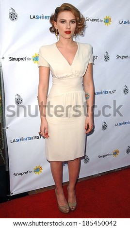 Scarlett Johansson, in a Prada dress, at 13th Annual Los Angeles Shorts Festival Opening Night, Laemmle's Sunset 5, West Hollywood, Los Angeles July 23, 2009
