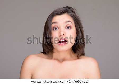 Scarred naked topless woman - stock photo