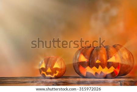 Scarry halloween pumpkin background - stock photo