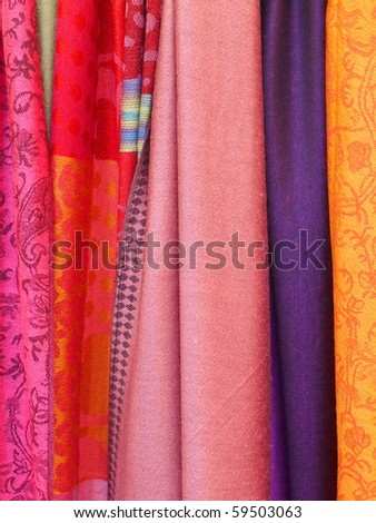 Scarves in warm colors