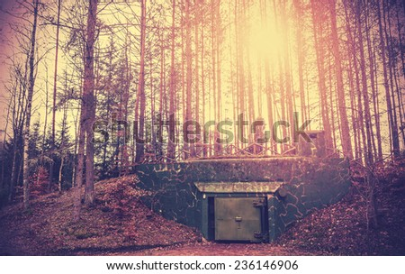 Scary bunker hidden in a forest with surreal colors. - stock photo