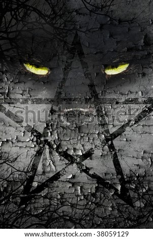 scary cats eyes on pentagram red - stock photo