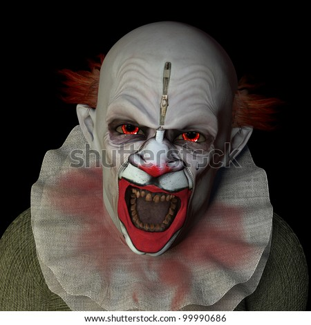 Scary clown glaring at you with red eyes. Isolated on a black background. - stock photo