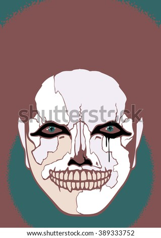 Scary clown (raster version) - stock photo