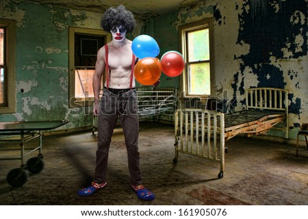 Scary Evil Clown Inside Condemned Room With Hospital Bed - stock photo