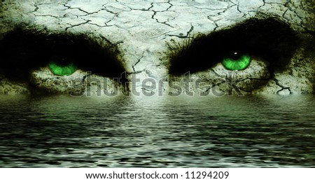 Scary Eyes and Cracked Textured Skin over Water - stock photo