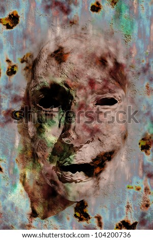 Scary face on the wall - hallucinations - stock photo
