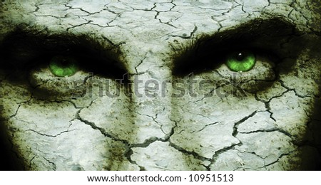 scary face with dry cracked skin - stock photo