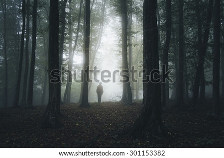 scary forest with mysterious man silhouette - stock photo