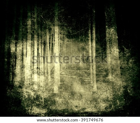Scary grunge abstract forest background, scratched texture