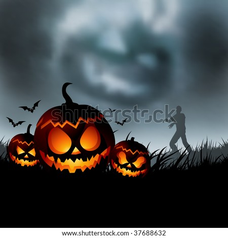 Scary halloween evening vector illustration! - stock photo