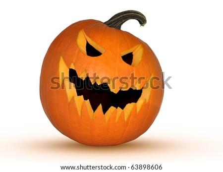 scary halloween jack-o-lantern isolated - stock photo