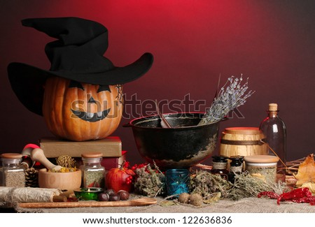 Scary halloween laboratory in red light - stock photo