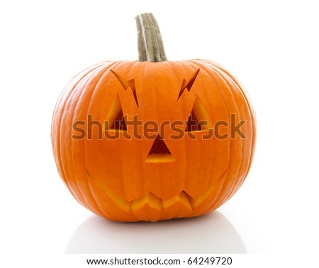 scary halloween pumpkin with face isolated on white background