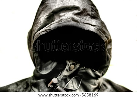 Scary Hood isolated on White background - stock photo