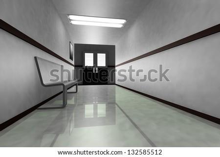 Scary Hosptial Corridor - stock photo