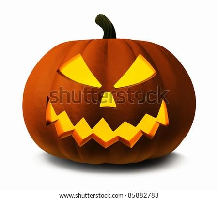 Scary Jack O Lantern halloween pumpkin, 3d illustration - stock photo